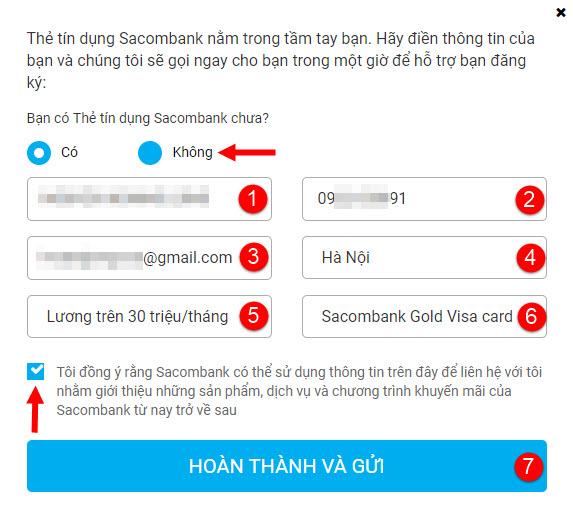 Đăng ký làm thẻ tín dụng Sacombank Online, 5 PHÚT đ.ký, miễn lãi 55 ngày