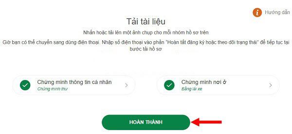 Hoàn thành quá trình tải giấy tờ cá nhân khi làm thẻ VP Bank Online