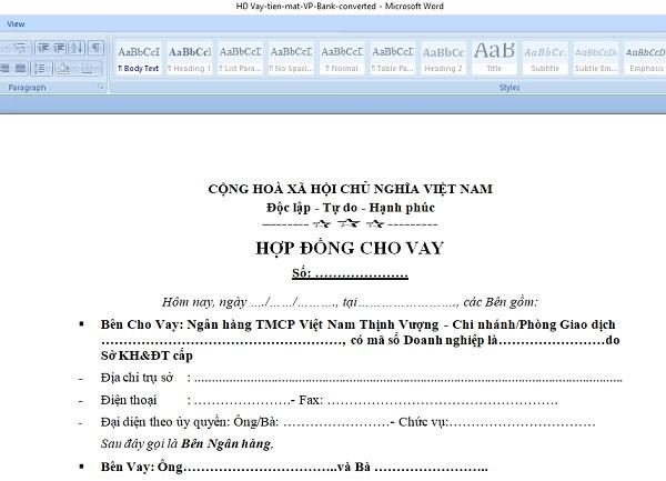 Chuyển đổi hợp đồng vay tiền, mở thẻ từ file PDF sang Word trực tuyến thành công