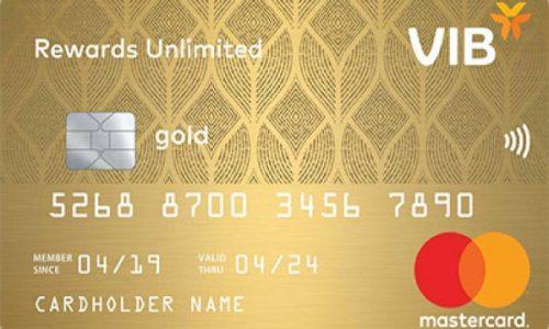 Thẻ VIB Rewards Unlimited; hạn mức 200 triệu, miễn lãi 45 ngày