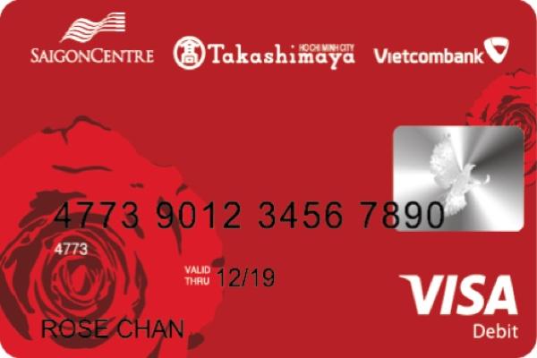 Thẻ ghi nợ Vietcombank Takashimaya Visa; hạn mức 200 triệu, miễn phí phát hành