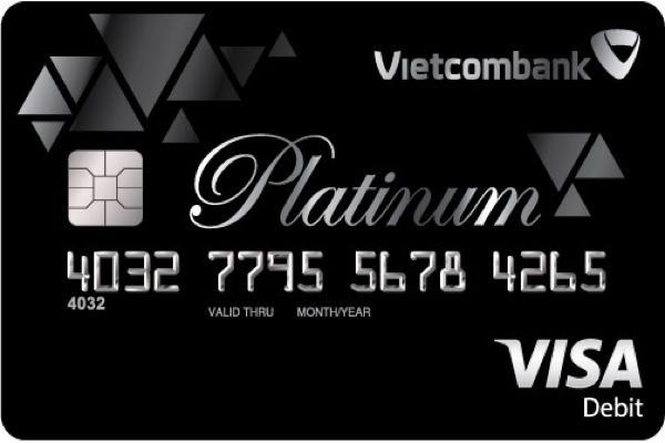 Hình ảnh mẫu thẻ ghi nợ quốc tế Vietcombank Visa Platinum
