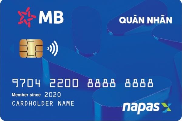 Thẻ quân nhân MB Bank, hạn mức 20 triệu, miễn phí giao dịch nội mạng