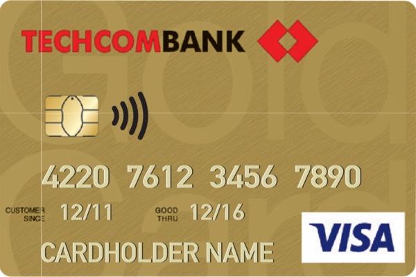Lựa chọn thẻ tín dụng Techcombank Visa Gold; tính bảo mật cao, miễn phí phát hành