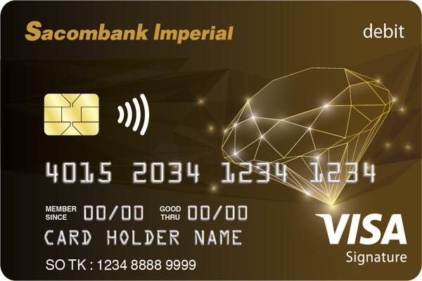 Hình ảnh mẫu thẻ Visa Imperial Signature Sacombank