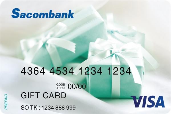 Hình ảnh mẫu thẻ Visa Lucky Gift Sacombank