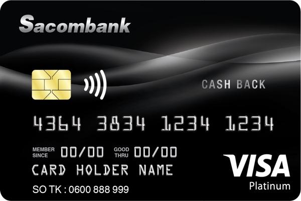Hình ảnh mẫu thẻ Visa Platinum Cashback Sacombank