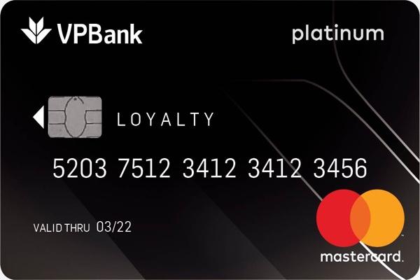 Thẻ tín dụng VPBank Platinum Mastercard; miễn phí thường niên, hạn mức 1 tỷ